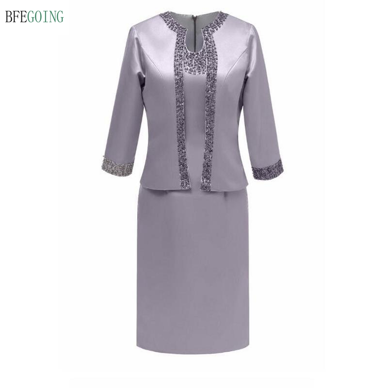 Gray Satin Beading Knee-Length Mother Of The Bride Dress With A Wrap Custom Made