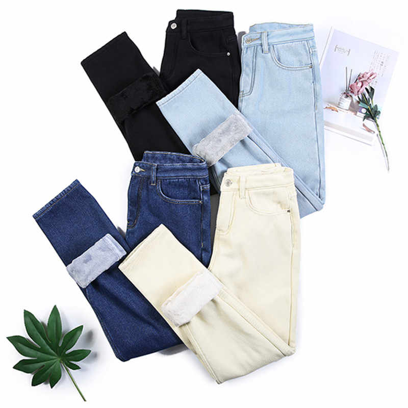 2019 Women Winter Warm Thickening Jeans Fashion Sexy Solid Fleece Straight Pants Loose Jean Pants Plus Size Trousers P9207
