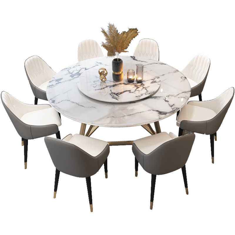 Round Nordic Dining Table With Turntable Modern Minimalist Dining Table Dining Tables Aliexpress
