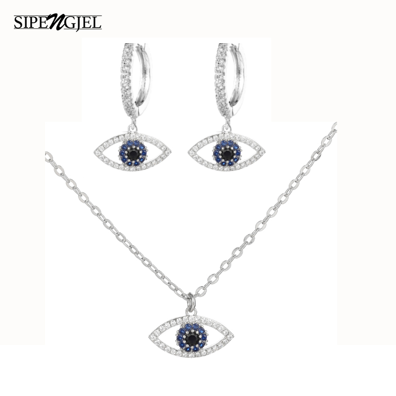 Fashion Gold Silver Color tiger Eye Sets Earrings And Necklace Set Top Quality Blue Cz Necklace For Women Good Luck Gift 2020