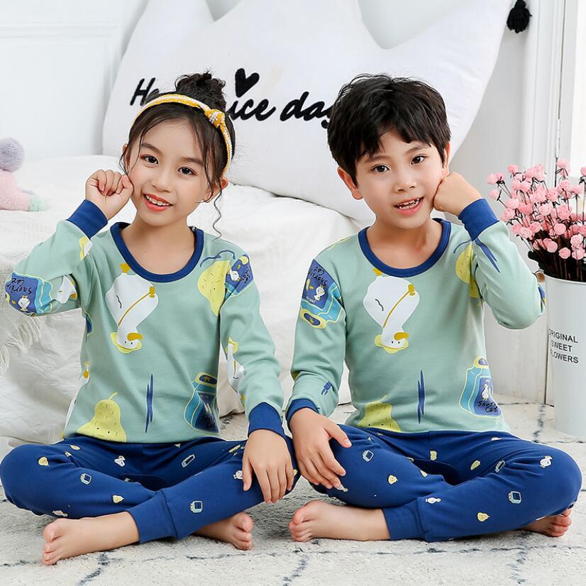 Kids pajamas 2-11T children spring animal cotton pyjamas girls cartoon cute nightwear boys sleepwear sets baby soft clothing