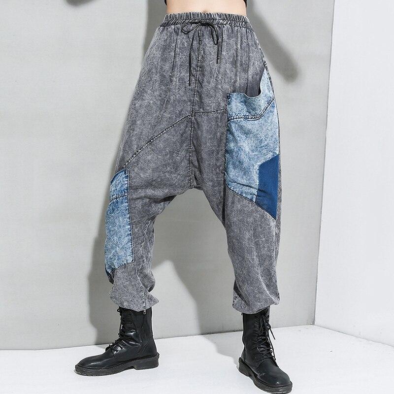 [EAM] High Elastic Waist Blue Big Pocket Long Harem Trousers New Loose Fit Pants Women Fashion Tide Spring Autumn 2020 1R938