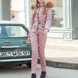Inverno Lungo di Spessore Delle Donne Della Tuta Tute e Salopette Oversize Imbottito Vestiti di Moda Puro Rosa Parka Nero Streetwear casual Tute e Tute da Palestra 2019