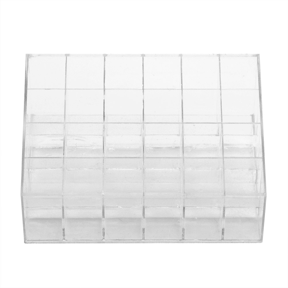 24 Grids Transparent Lipstick Holder Organizer Display Stand Nail Polish Makeup Acrylic Storage Box Cosmetic Jewelry Case
