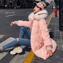 2019 New Oversized Coats Thick Winter Jacket Women Hooded Fur Collar Down Cotton Coat Long Jacket Female Parkas Mujer Coats стоимость