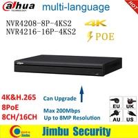 Dahua NVR 4K H.265 POE Video Recorder NVR4208 8P 4KS2 NVR4216 16P 4KS2 8 POE port 8CH 16CH Up to 8MP Resolution EASY4IP DVR