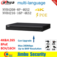 Dahua NVR 4K H.265 POE Video Recorder NVR4208 8P 4KS2 NVR4216 16P 4KS2 8 POE port 8CH 16CH Up to 8MP Resolution EASY4IP DVR