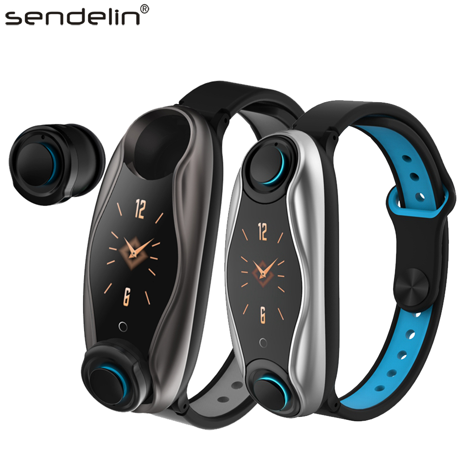 Talk Band Bluetooth 5.0 Wireless Headphones Mini Earbuds With Mic Charging Smart Bracelet Watch Support Blood Pressure Oximeter image