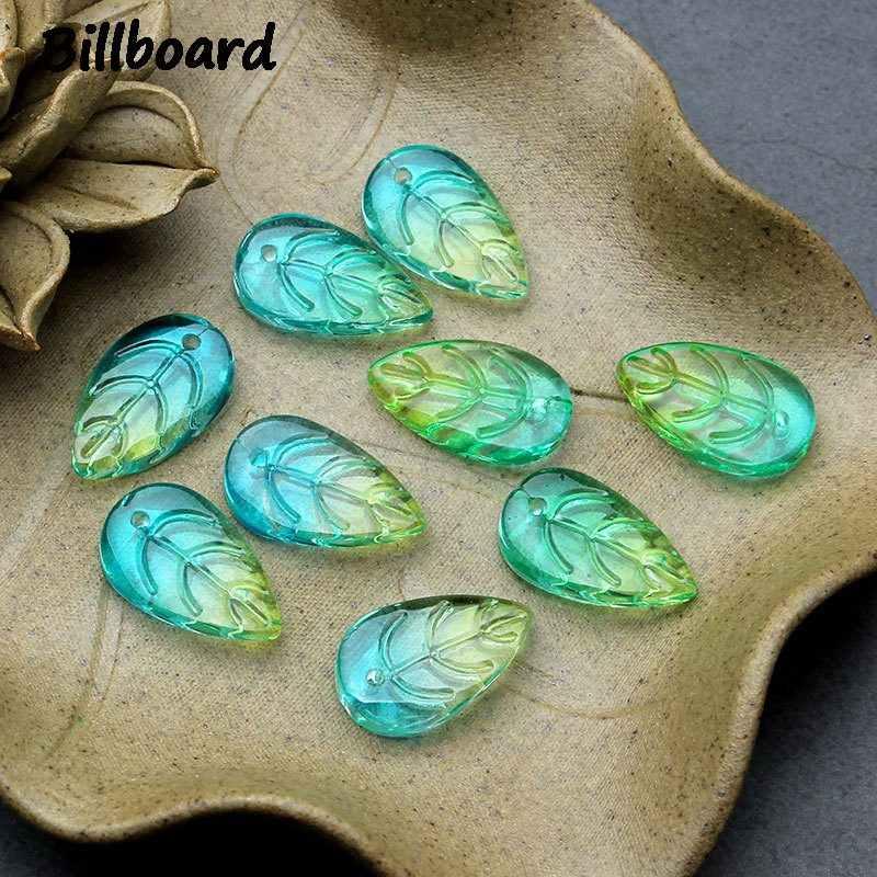 Mode feuilles charmes pour la fabrication de bijoux bricolage épingle à cheveux faisant verre à la mode femmes boucle d'oreille charmes gros Lots en vrac 10 pièces/sac