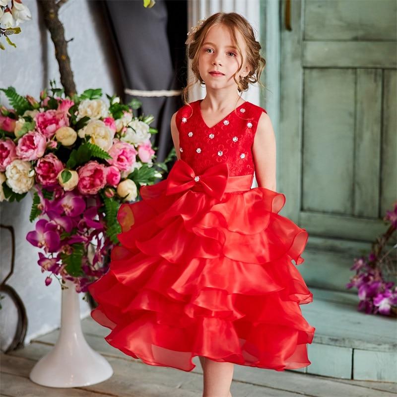Girls Princess Flowers Ball Gown Princess Dress Kids Clothes Girls Cake Formal Dresses For Weddings Tutu Dress Party Evening 2