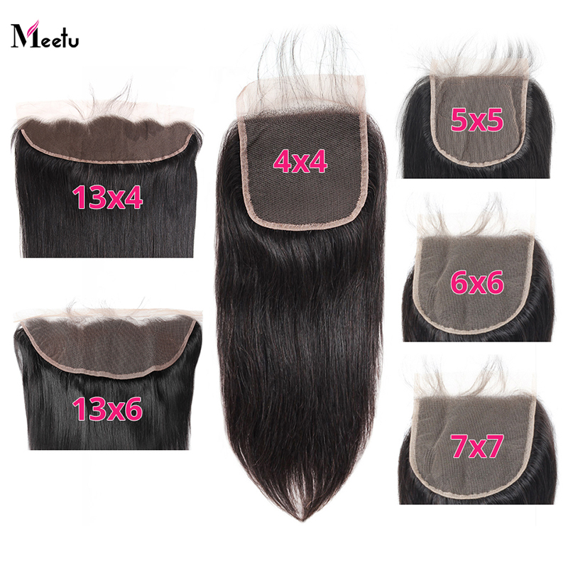 Meetu Malaysian Straight 5x5 Lace Closure With Baby Hair 4x4 6x6 7x7 Swiss Lace Closure 13x4 13x6 Lace Frontal Pre Plucked Hair