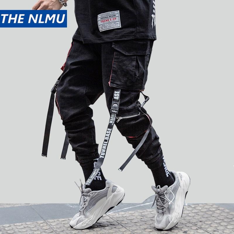 Hip Hop Streetwear Joggers Men Cargo Pants Casual Sweatpants Multi-pocket Ribbon Cotton Trousers Male 2020 Fashion HT152