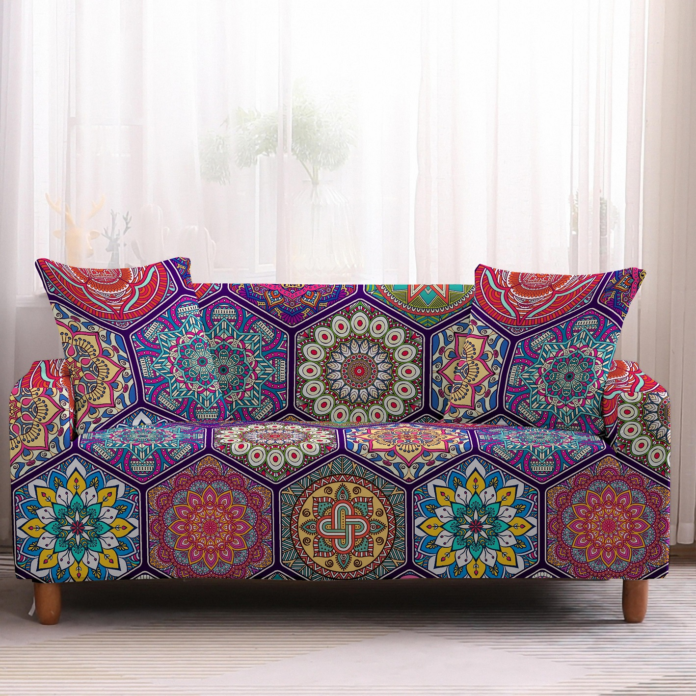 Bohemia Slipcovers Sofa Cover in Mandala Pattern to Protect Living Room Furniture from Stains and Dust 9