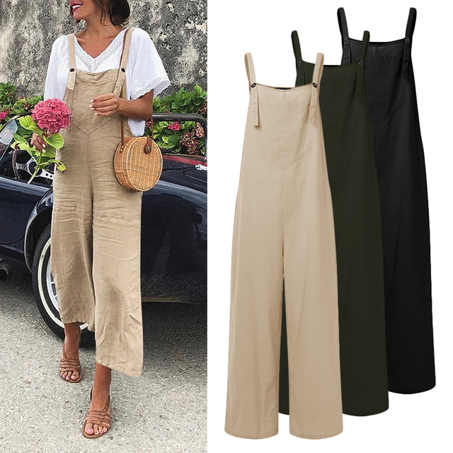 Celmia Vintage Women Jumpsuits Sexy Sleeveless Straps Overalls 2021 Summer Wide Leg Trousers Solid Romper Casual Long Playsuits