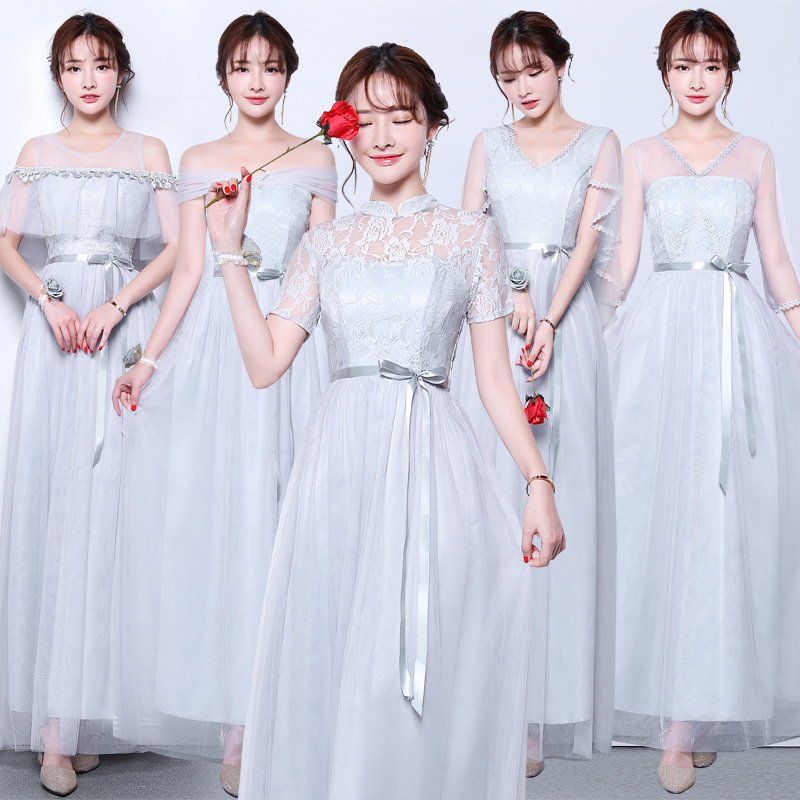 Gray Junior Bridesmaid Dresses Sister  A-Line Tulle Vestido Largo Sirena Elegant Dress Women For Wedding Party Sexy Prom Dress
