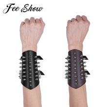 Unisex Faux Leather Metal Spikes Gauntlet Wristband Armband Guard Medieval Bracers Protective Women Men Steampunk Arm Armor Cuff(China)