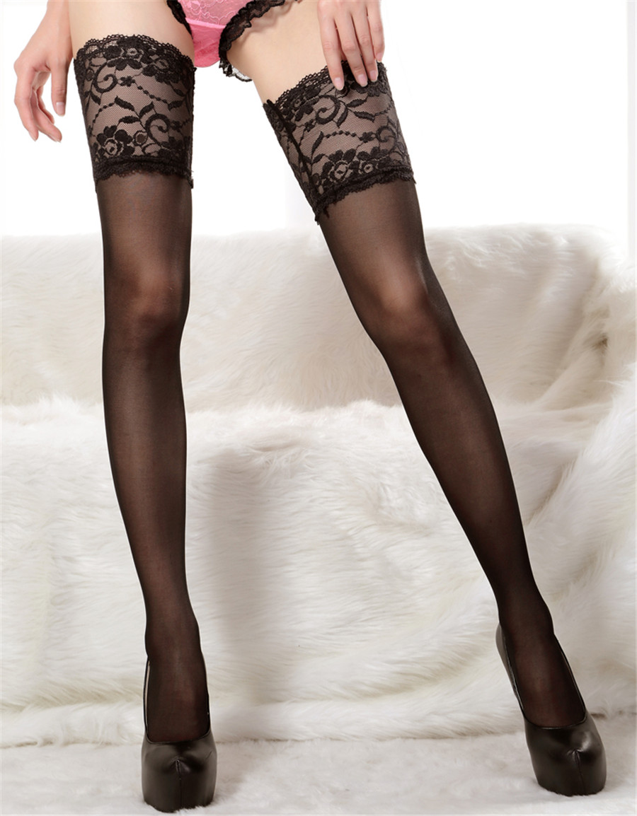 Top Quality 14 Cm Lace Women Nylon Thigh High Stockings Ladies Sexy Widen Sexy Stockings Pantyhose 5 Color White Stockings