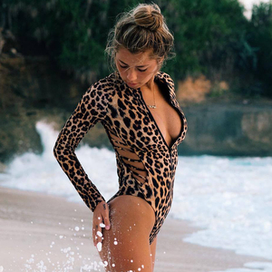 Image 2 - 2020 New Sexy Hollow Out One Piece Swimsuit Women Long Sleeves Swimwear Zipper Monokini Print Surf Swimsuit Female Bathing Suits