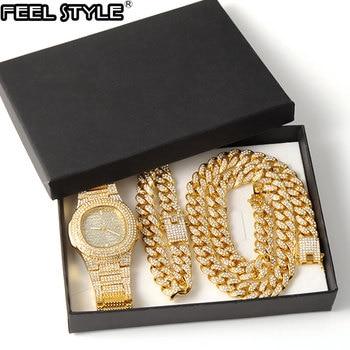 Collar de oro, reloj y pulsera, cadena cubana de Miami Curb, diamantes de imitación incrustados, joyería CZ para hombres 1