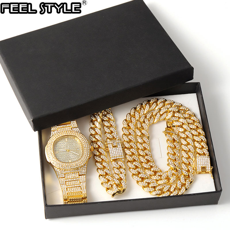 Золотое ожерелье + часы + браслет в стиле хип-хоп Miami Снаряженная кубинская цепочка Золотое полное покрытие Стразы CZ украшение для мужчин юве...