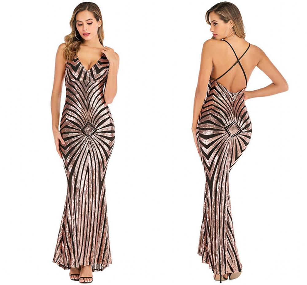 Robe De Soiree Longue Cheap Black/White/Gold Mermaid Sexy Evening Dresses Sequined Sparkle Ankle Length Prom Party Gowns 2020