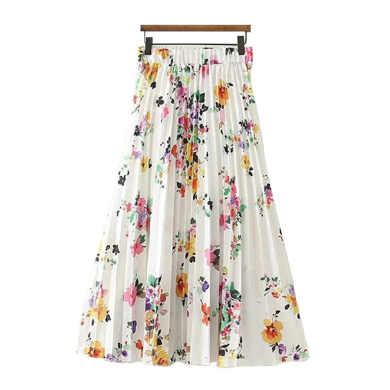Tangada Summer Floral Pleated Skirt Women Fashion 2019 Trending Styles Midi Skirts Casual Brand Female Skirt XD356