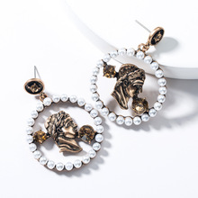 2019 Distressed Vintage Classic Figure Sculpture Round Pearl Acrylic Bronze Earrings For Women Jewelry