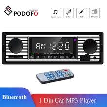 Podofo Auto Car Radio Bluetooth Vintage Wireless MP3 Multimedia Player AUX USB FM 12V Classic Stereo Audio Player Car Electric