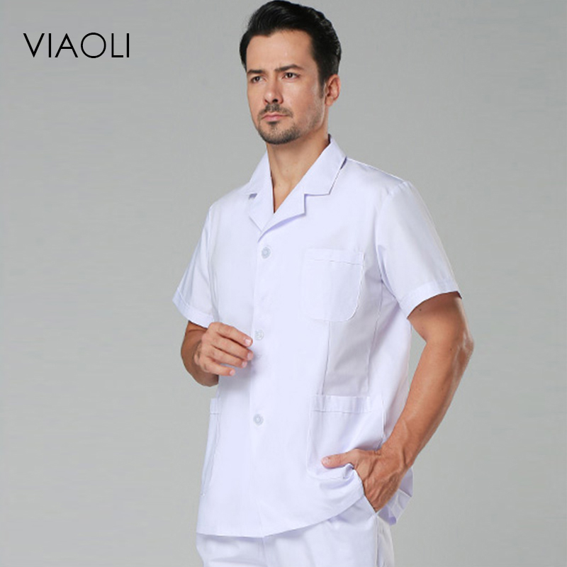 VIAOLI Short Sleeve Men Medical Coat Uniform Medical Lab Coat Hospital Doctor Clothes Suit Collar White And Blue  Lab Coat