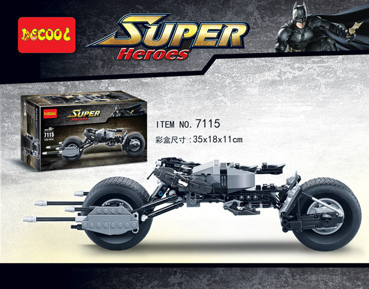 Decool 7115 Super Heroes The Dark Knight Legoinglys Batman Batcycle Batmobile 338PCS Bricks Batpod Building Blocks Toys