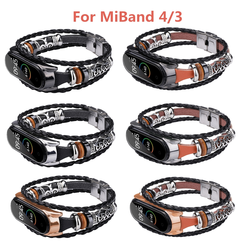 Mi Band 4 Watch Band For Xiaomi Mi Band 4 Buckle Metal Ethnic Style DIY Replacement For Mi Band 4 Wristband Beaded Wrist Strap