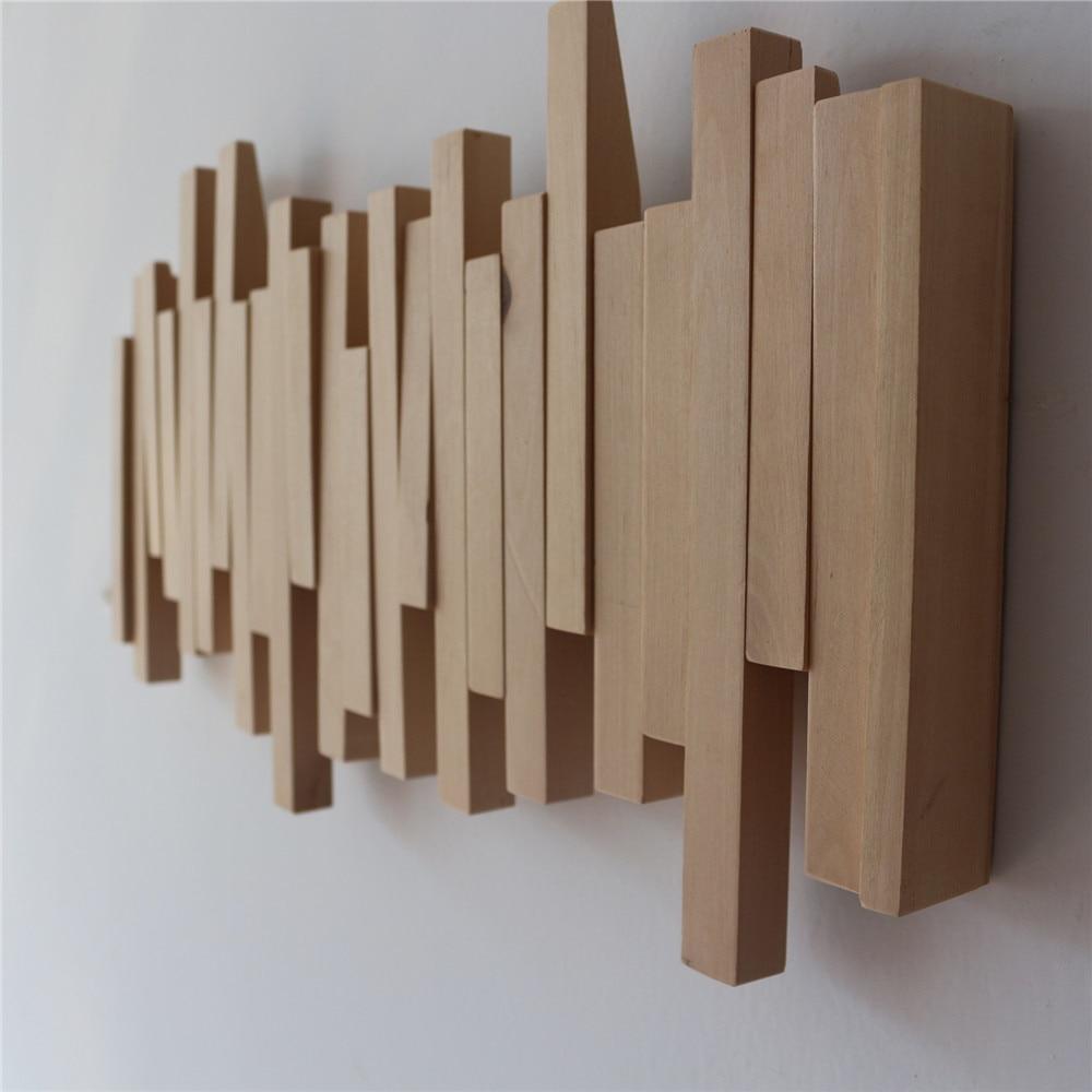 Wood Coat Rack Hanger With Flip-Down Hooks Rustic Wall Clothes Rack Bedroom Furniture Decor Hallway Organizer For Coats Purses