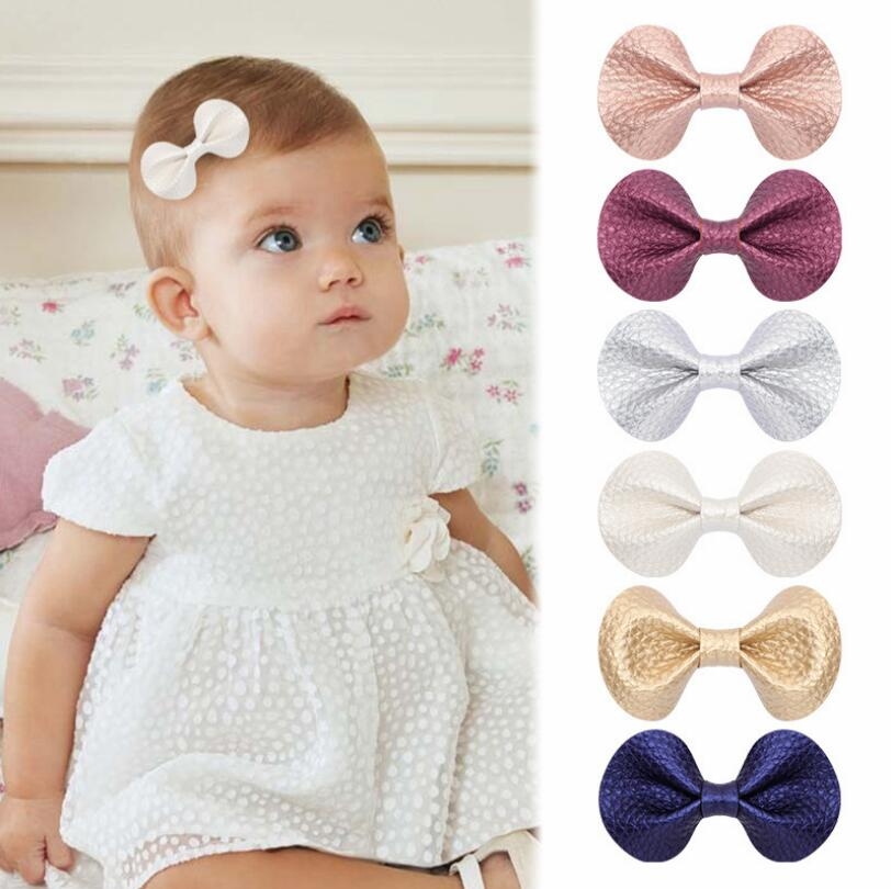 High Quality 5.5/6cm Leather Butterfly Hair Bows For Babies Kids 2pcs/Set Girls Hair Clips Barrette Girls Child Hair Accessories
