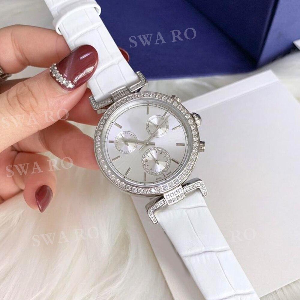 SWA mode nouvelle haute qualité SWA ère voyage montre blanc motif de rayonnement bracelet en cuir en acier inoxydable femmes montre en cristal