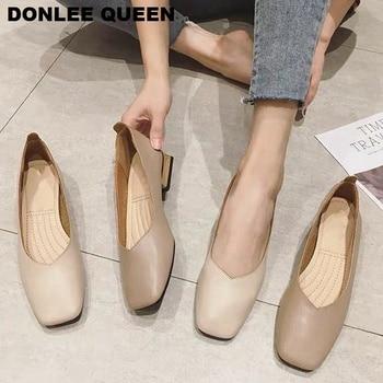 Musim Semi Baru Sepatu Flat Wanita Kayu Tumit Rendah Balet Square Toe Dangkal Merek Sepatu Slip Pada Sepatunya Zapatos De Mujer besar Ukuran 35-41