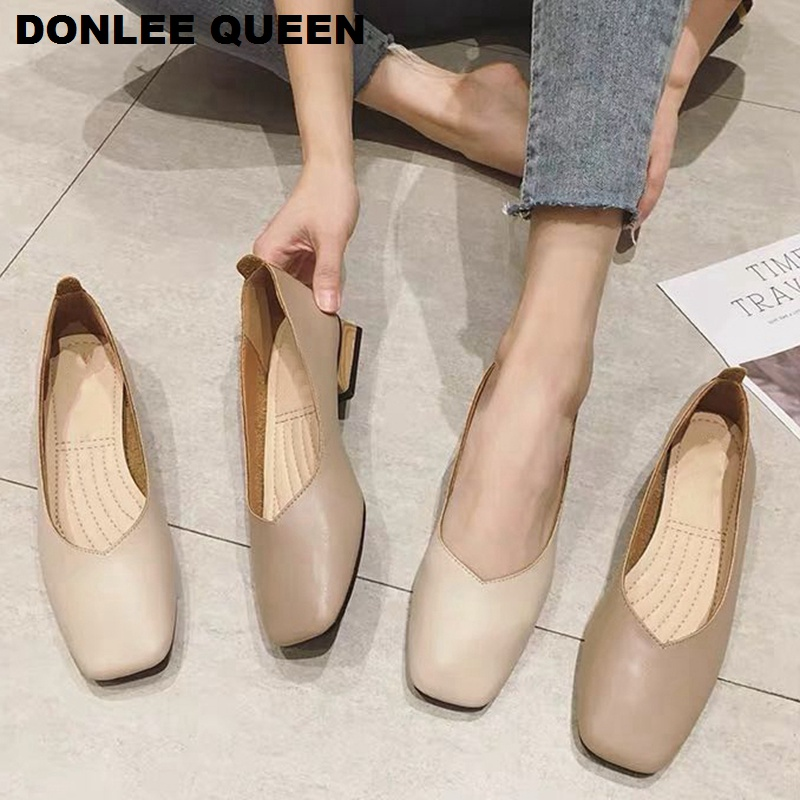 New Spring Flats Shoes Women Wooden Low Heel Ballet Square Toe Shallow Brand Shoe Slip On Loafer zapatos de mujer big size 35 41