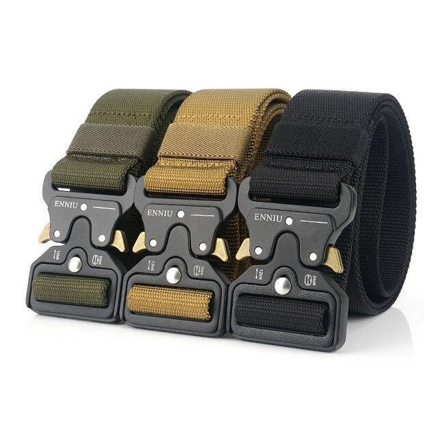 Nylon Tactical Belt Army Belt Men Outdoor Training Belts Black High Quality Easy Unlock Metal Military Buckle Belt 5