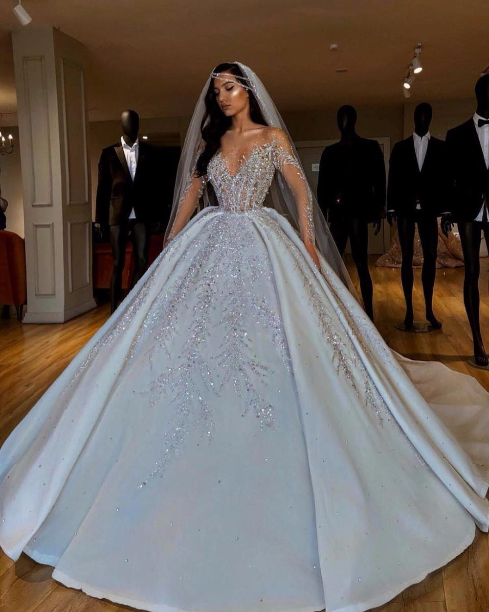 New Illusion Ball Gown Arabic Wedding Dress 2020 Luxury Beading Long Sleeves Dubai Wedding Gowns Court Train Robe De Mariee Buy At The Price Of 440 00 In Aliexpress Com Imall Com