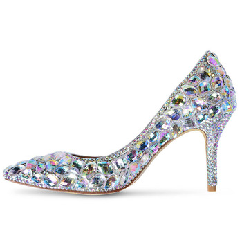 LMCAVASUN Hand-studded pointed shallow mouth rhinestone wedding shoes new fashion banquet sexy leather high heels women