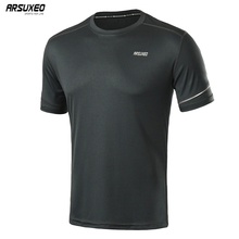 ARSUXEO Men Summer Running T Shirts Dry Fit Short Sleeve Sports Shirt Fitness Training Crossfit Jersey Gym Breathable 19t1