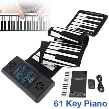 61 Keys MIDI Roll Up Electronic Piano Silicone Flexible Keyboard Organ Built-in 2 Speakers Support Audio Bluetooth Function