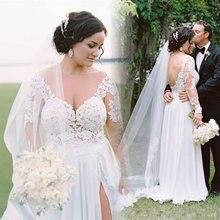 Женское свадебное платье с высоким разрезом кружевное шифоновое