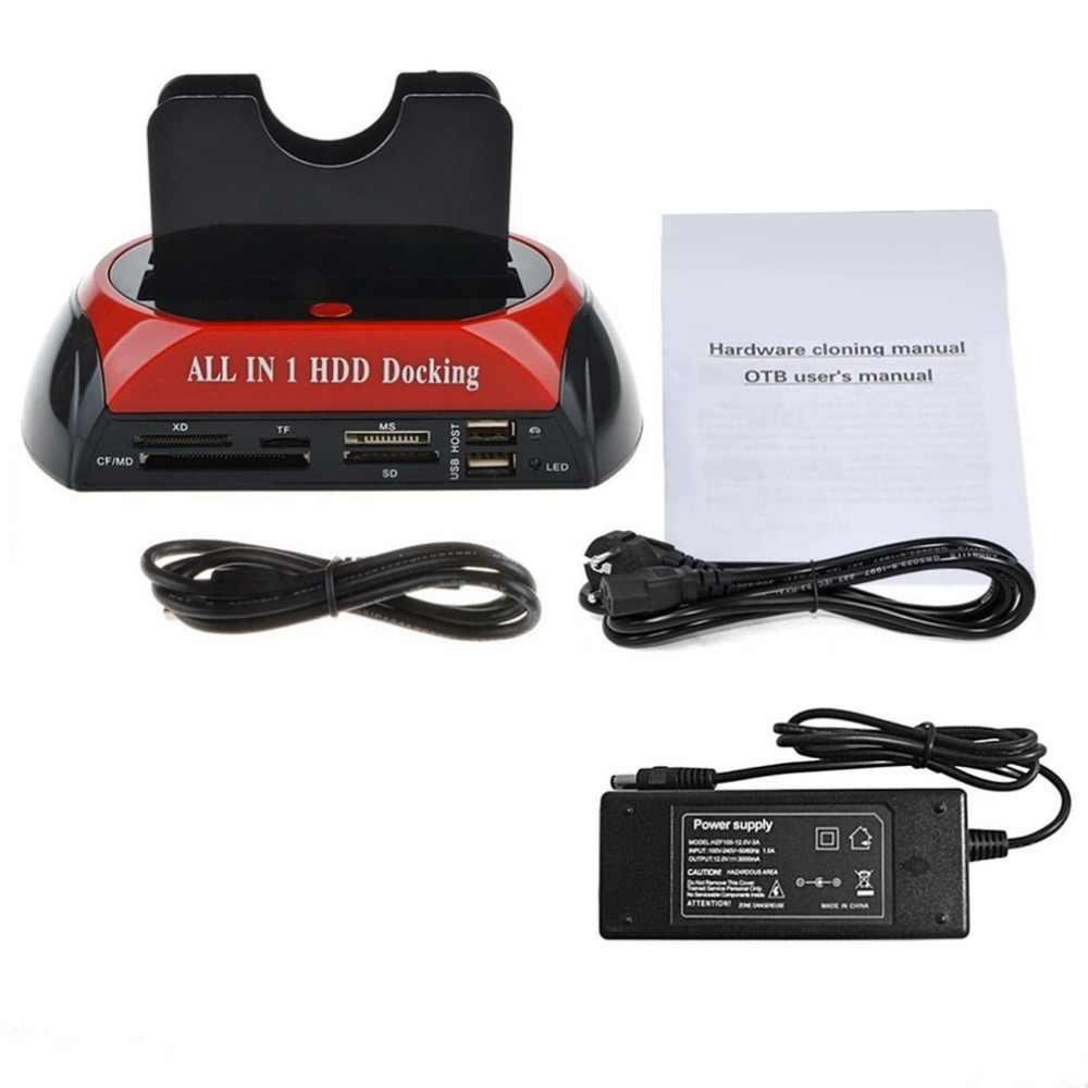متعددة الوظائف HDD محطة الإرساء المزدوج USB 2.0 2.5/3.5 بوصة IDE SATA HDD خارجي مربع القرص الصلب ضميمة بطاقة قارئ