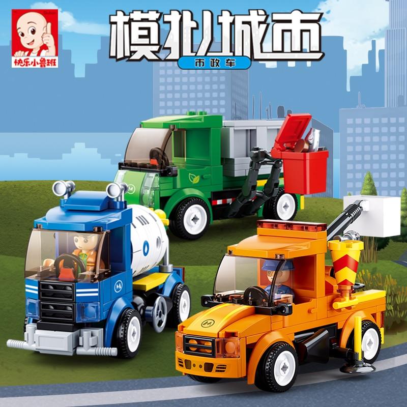 Sluban Building Block City Town Great Vehicles Municipal Car GarbageTruck 136pcs Educational Bricks Toy Boy-No Retail Box