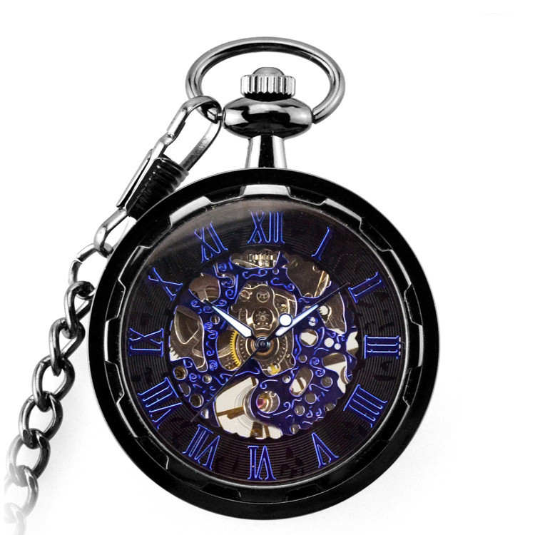 Pocket Watch Women Male Clock Blue Mechanical Steampunk Skeleton Pocket & Fob Watches Chain Men Antique Luxury Brand Necklace