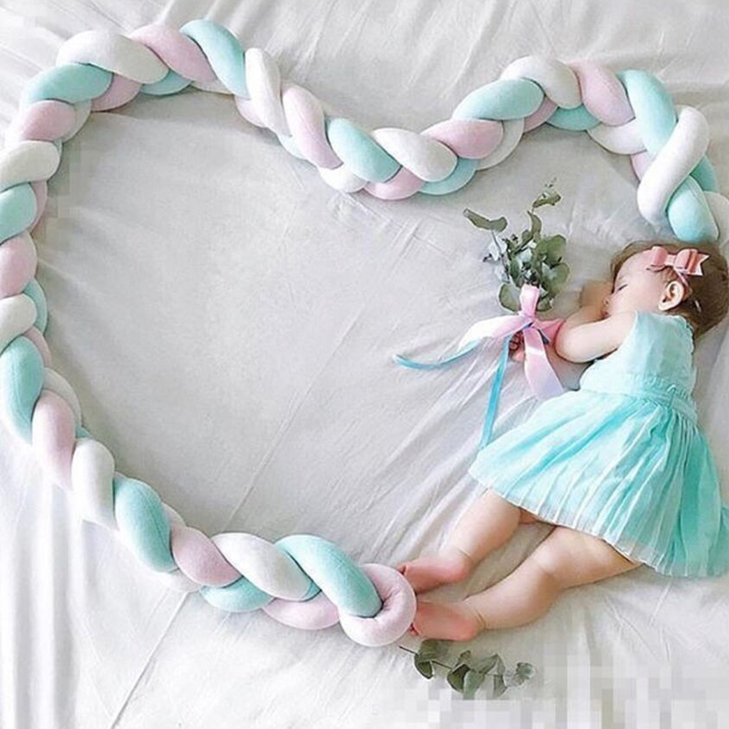 1M/2M/2.5M/3M/3.5M/4M Bed Bumper Bumpers in the crib Kids For Newborn Baby Pillow Cushion Cot Room Infant Knot Things Protector(China)