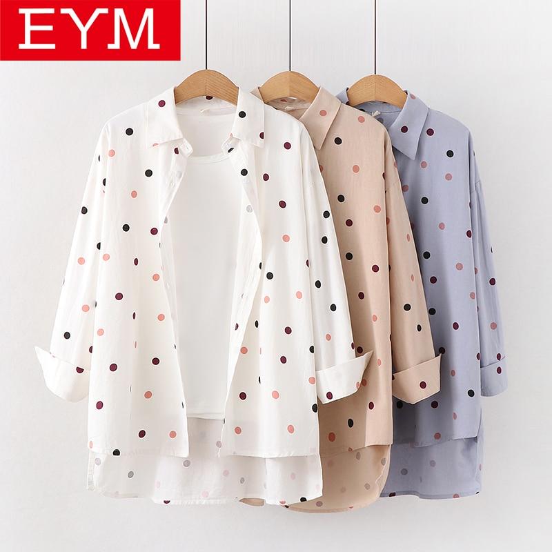 2019 Autumn New Women Blouses Fresh Style Loose Women Polka Dot Print Blouse Cotton Casual Long Sleeve Shirts Lady Tops Blusas