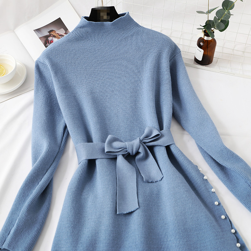 Elegant Stylish Half Turtleneck Long Sweater Dress + Pleated Velvet Skirt 2pcs Women Beaded Sashes Kitted Top and Mesh Skirt Set 46