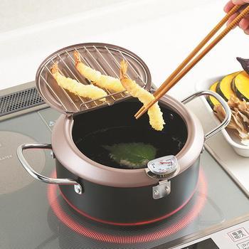 2020 Household Deep Frying Pot With Lid Tempura Fryer Pan Temperature Control Fried Chicken Pot Cooking Tools Kitchen Utensil