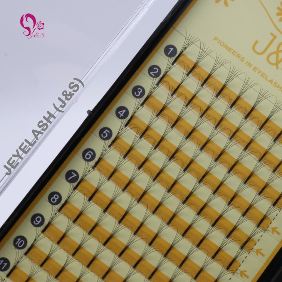 J&S C Curl Natural Soft Silk False Eyelash Extension Premade fans 6D VOLUME Heat Bonded Fake Eyelashes Good Quality